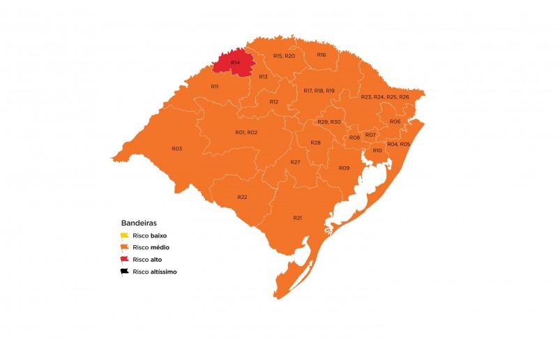 Apenas a região de Santa Rosa fica na bandeira vermelha no mapa preliminar do RS