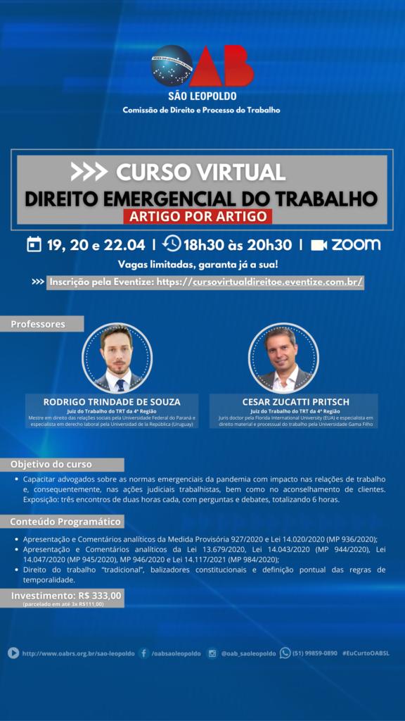 OAB São Leopoldo promove o curso Direito Emergencial do Trabalho